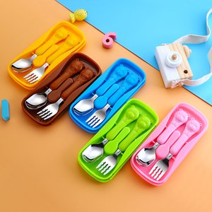 2Pcs Set Baby Dishes Set Cartoon Spoon Fork Set Baby Feeding Spoon Stainless Steel Eating Utensils Portable Flatware Accessories