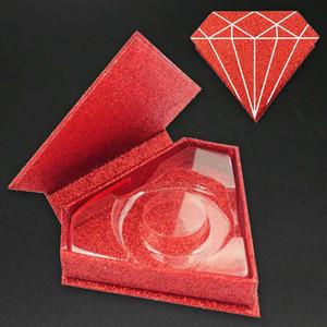 Diamond Shape Lashes Package Box 3D Mink Eyelashes Boxes Fake False Eyelashes Packaging Case Empty Eyelash Box Cosmetic Tools