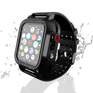 Funda protectora + Bandas de reloj para Apple Watch 4 iWatch Band 44mm 40mm Negro Pulsera de silicona suave Correa impermeable para Apple Watch