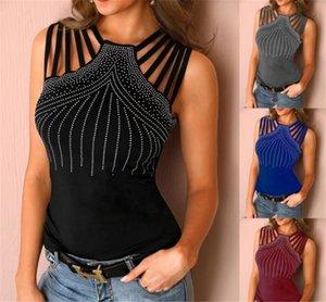 Les femmes Vêtements d'été T-shirts Ruban sexy Stylisme manches Drilling Hauts Nouveau Vêtements Designer Casual femmes