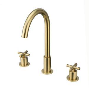 Robinets de lavabo à double poignée pour lavabo en laiton brossé doré sur le pont