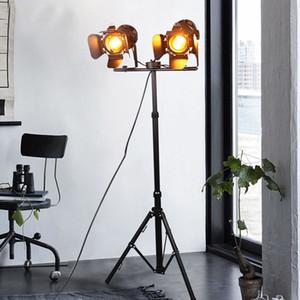 E27 LED 복고풍 방 공부 카페를 거실 침실 식당에 대한 단일 헤드 플로어 램프 검은 연철 복고풍 플로어 램프를 삼각대