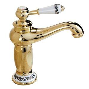 Toutes les céramiques de cuivre mitigeur cuisine monotrou de lavabo robinet en chrome (Gold)