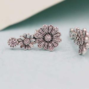 2020 Nuevo 925 Espumoso flor de la margarita del trío de la CZ Pendientes adapta al estilo europeo joyería Pandora Charms