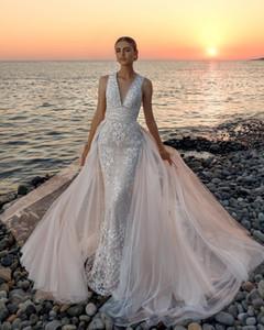 High-end Custom made Lace Wedding dress 2019 Deep V-neck Wedding dresses Bridal Dresses China vestido de noiva wedding gowns