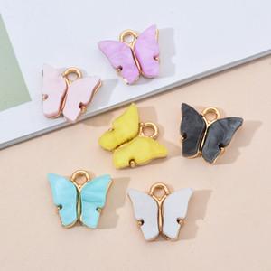 Réglage papillon à la mode en alliage Charms acrylique 10PCS / Lot Belle Pendentif animal bricolage main Bijoux Pour Bracelet Collier