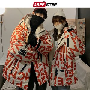 LAPPSTER Men Japanese Streetwear Bubble Jacket 2019 Parka Mens Full Letter Print Hip Hop Hooded Jacket Casual Womens Korean Coat