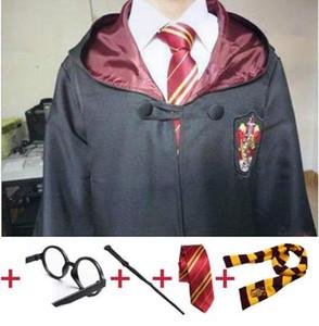 Harry Potter bata Cabo con trajes de corbata de la bufanda de la varita de los vidrios de Ravenclaw Slytherin Hufflepuff Gryffindor Hermione trajes de Harris