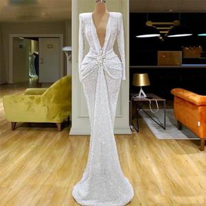 Blanc Sexy sirène Robe de soirée col en V profond perles manches longues pailletée Parti Robes de bal taille froncée robe de soirée