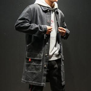 YASUGUOJI Nuevo 2019 Japón Style Vintage Jeans Hombres Chaqueta Moda Hombres Denim Trench Coat Hombres Streetwear Chaqueta larga suelta para