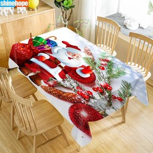 New Arrival Custom Merry Christmas Table Cloth Waterproof Oxford Fabric Rectangular Tablecloth Home Party Tablecloth Y200421