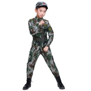 Kids Girl Boy Military Army Suit Uniform School Student Stage Performance Clothing Camouflage Tactical Children Costumes 3-16T