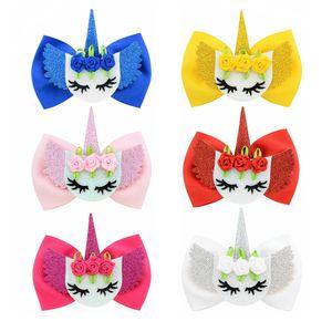 6 unids / lote ojos encantadores Bowknot Hairgrips Boutique lazo de pelo de la cinta con cuerno de unicornio pinzas para el cabello niños horquillas para niñas 876