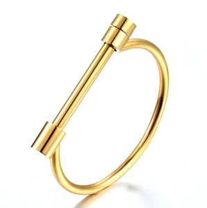 2019 chegam novas 316L aço inoxidável D pulseiras pulseiras para mulheres homens rosa de ouro / prata banhado amor Cuff Pulseiras Jóias Presente nunca perder