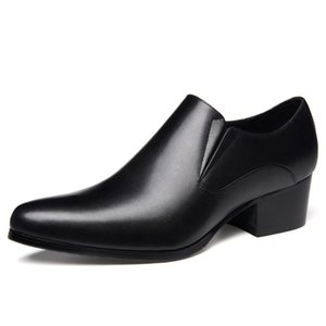 High Quality Genuine Leather Formal Dress Men's Pointed Toe Handmade Footwear High Heels Man Wedding Party Shoes
