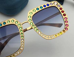 Gafas de sol de diseñador al por mayor 0115 Marco cuadrado de metal Mosaico Cristal brillante Colorido Diamante Lente UV400 de calidad superior Viene con caja original
