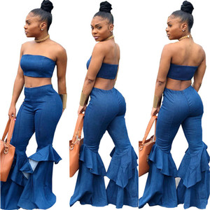 Two Piece Set Summer Strapless Crop Top and Flare Pant Suit Matching Sets Outfits Sexy 2 Piece Set Women