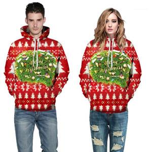 Печать пуловер с длинным рукавом пара одежда мода стиль повседневная Aparel женские зимние дизайнерские толстовки Рождество 3D
