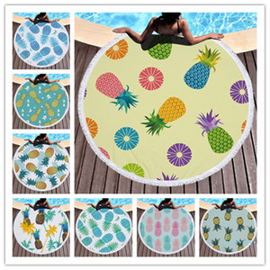 Pineapple Beach Towel Fruits Plants Floral Printed Round Beach Blanket Women Tassels Bath Towel Home Bed Sofa Mats Pads Carpet SALE A6403