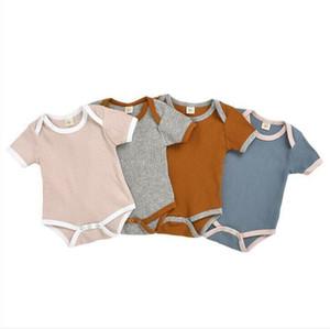 Kinder-Kleidung-Baby-Strampler Solidee Kleinkind-Sommer Artikel Pit Overall Junge Gilrs kurze Ärmel Body Säuglings-Baby-Designer-Kleidung AYP462