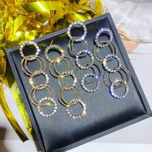 Kadınlar Uzun Altın Gümüş Renk Rhinestone Küpe Parti Takı gifte için Moda Çoklu Küçük Çember Damla Küpe