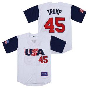 Stadium Baseball Liquidação EUA 45 Donald Trump Jersey Marca americano Great novamente para a alta qualidade do bordado 45