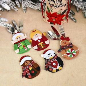 New Cartoon Doll Mini Dinnerware Cover Christmas Decorations Christmas Table Knife Fork Bags Christmas Festival Home Tableware Supplies