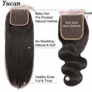 """الماليزية عذراء الشعر مستقيم موجة الجسم 5 """"X5"""" الرباط إغلاق 8-18 بوصة 100٪ ريمي الشعر البرازيلي الإنسان 5X5 الرباط اختتام مع شعر الطفل"""