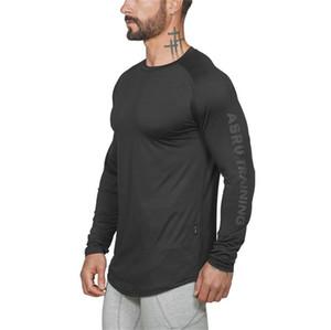 Sonbahar Erkek Tasarımcı Katı Tişörtleri Moda Uzun Kollu Spor Tees Casual Ekip Boyun Erkek Tees