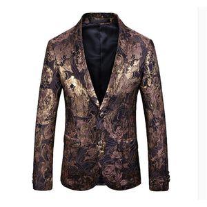 2020 Mens дизайнер мужской одежды класса люкс Дизайнерские мужские Blazer печать куртка кнопка Стильного Fancy марка цветочных Мужчины Тонкие костюмы Пиджаки
