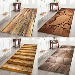 Grão De Madeira geométrica Impresso Tapete Cozinha Antiderrapante Tapetes Para Sala de estar Tapetes de Porta de Entrada Tapete Tapete de Decoração