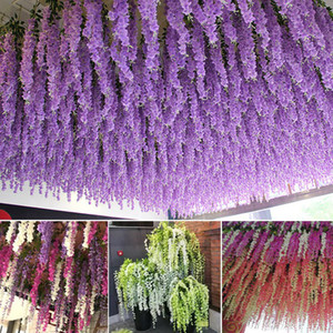 115cm dense wisteria flower artificial silk flower vine elegant wisteria vine rattan for wedding garden home parties decoration LJJA3318-21