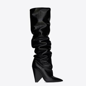 Black Moroder Leather Thigh-high Boots Women Cone High Heels Knight Boots Short Long Botas Dress Wedding Shoes With Original Box