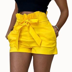 S-5XL негабаритные короткие женские летние свободные короткие брюки пляжные модные карманы широкие повседневные брюки с оборками красный желтый пояс
