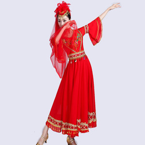 Xinjiang Uyghur Dance Costume Cinese folk dancing dress Donne Square dancer stage wear festival Abito da spettacolo