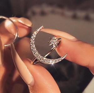 Ücretsiz nakliye satan Trendy Kadın shing Yüzük mücevher Hilal Yıldız Ay Yüzük 18k Yaratıcı Açık nişan yüzüğü En