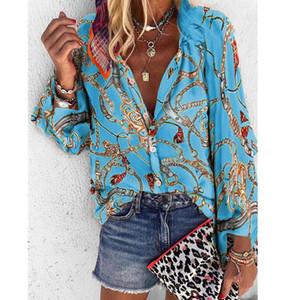 Designer-Kette Printed Frauen Shirts Art und Weise plus Größe Langarm Blusen beiläufige Einreiher Frauen Tops
