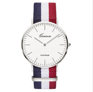 시계 새로운 남성 손목 시계 제네바 시계 줄무늬 패브릭 캔버스 나일론 스트랩 스포츠 띠와 남녀 쿼츠 시계 초박형 남자 시계