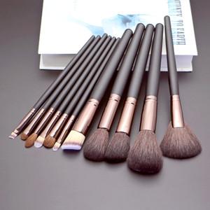 Козий волос Макияж Кисть 11pcs Макияж Set Kit Tools Высокого качества Черного натуральных волос Face Eye Профессиональный набор кистей для макияжа