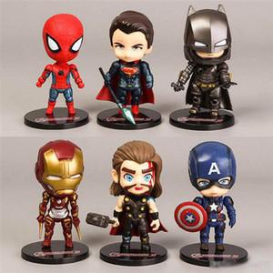6 pc / lotto 9CM The Avengers figura insieme 9CM personaggi Super Eroe Modello bambini giocattoli in vinile bambola Figure da collezione modello Marvel Doll Giocattoli
