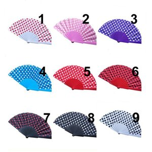 Polka Dots Design Hand Fans Spanish Style Folding Fans for Wedding Favors Party Gift with 9 Colors Available LX1570