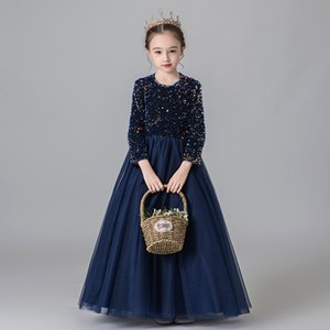 Tick Tok 2020 Children's Dress Princess Dress Long Sleeve Girl's Piano Performance Elegant Show Host Evening Summer
