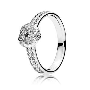 Yeni Bayan 18 K Gül Altın CZ Elmas Yüzük Seti Orijinal Kutusu için Pandora Gerçek 925 Gümüş Lüks Moda Düğün Hediye Yüzük