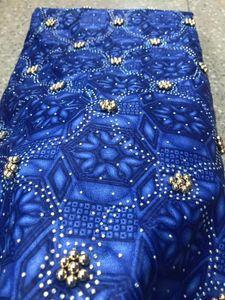 telas de encaje de cuentas 2020 de encaje de alta calidad impresiones de la cera africana tela última cera java Ankara con perlas y piedras 6yards / porción PLW