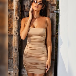 Spaghetti Strap Mini Satin Dress Women Sexy Backless Cross Bandage Bodycon Party Dress Pleated Stretch Short Club Dress