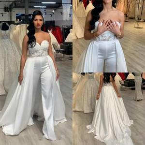 2020 Ucuz Yeni Kadınlar Tulumlar Artı boyutu Gelinlik Pant Suit Çıkarılabilir Etek Uzun Gelin Elbise abiye Örgün Parti törenlerinde Aplike Dantel