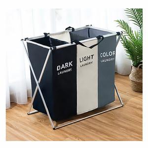 Dobrável Lavandaria cesta Organizador para Dirty Clothes Impresso dobrável Dois ou Três grade home cesto de roupa suja Sorter saco de armazenamento