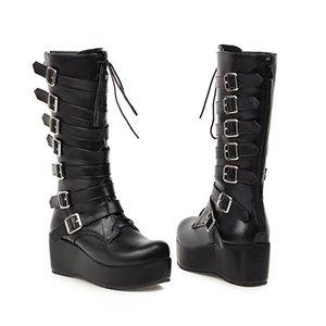 YMECHIC 겨울 고딕 펑크 여자의 플랫폼 부츠 블랙 버클 스트랩 레이스 업 기는 웨지 신발 중순 송아지 군사 전투 부츠