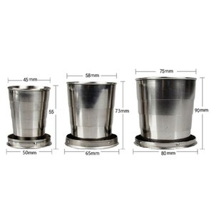 New Stainless Steel Portable Folding Collapsible Outdoor Travel Cup Mug Keychain Hiking SMN88