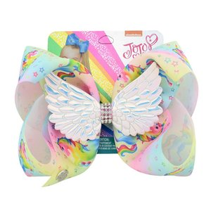8 inch Jojo Wings Bowknot Hairpin Diamond Baby Girls Hair Bows Clip Barrette Kids Large Unicorn Rainbow Hairclip Boutique new GGA2680